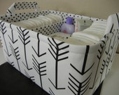 """Ex Large Diaper Caddy-14""""x 10""""x 7""""(CHOOSE Basket COLOR)Two Dividers-Baby Gift-Fabric Storage Organizer-""""Black Arrow on White"""""""