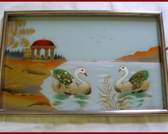 Vintage Tray Serving Tray Reverse Painted Swans