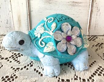 Embellished Stone Garden Turtle - Aqua Blue Whimsy Garden Statue - Blue Garden Decor - Birthday