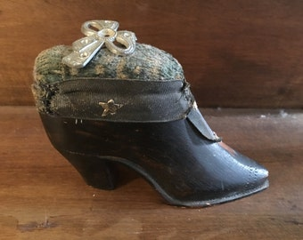 Antique Wooden Shoe or Boot Pin Cushion