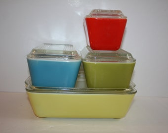 Vintage Pyrex Refreigerator Dishes with Lids Red, Yellow, Blue, Green/Pyrex 501, 502, 503/Pyrex Primary Color Refrigerator Dishes