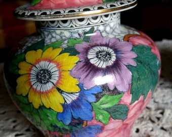 Maling New Castle 6432 Ginger Jar, Pink with Bright Flowers