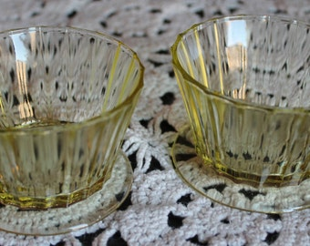 Yellow Depressin Glass Custard Cups Set of 2