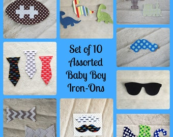 10 Assorted Baby Boy Iron Ons, Onesie Decorating Station for Baby Shower