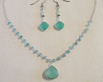 Seafoam Chalcedony Bezel Set Necklace on Silver Apatite Rosary Chain and Sterling Silver Rolo Chain.