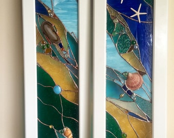 Stained Glass Panels Kitchen Cabinets Inserts with Sea Shells