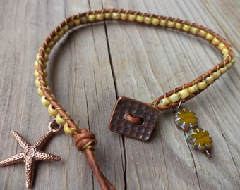 Starfish Sea Star Daisy Yellow Bohemian Leather Anklet Beach Boho Bohemian Jewelry Leather Jewelry