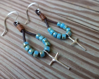 Cross Sterling Silver Turquoise Blue Leather Bohemian Earrings Boho Chic Leather Jewelry Christian Jewelry Cross Jewelry Religious Jewelry