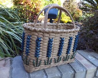 Texas Bluebonnet Tote Basket Carry All Basket Storage Basket Texas Themed Basket Made in Texas Handwoven Basket
