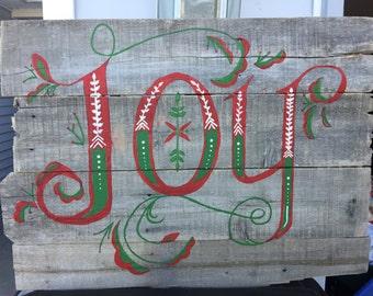 Barn Wood Christmas Sign Decor Joy