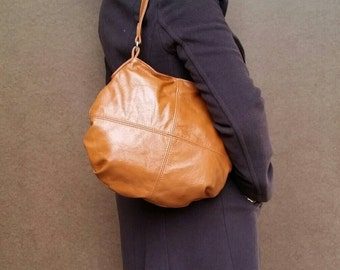 Honey Brown Leather Bag, Women Hobo Purse, Fashion bags, Handmade Shoulder Handbag, Aida