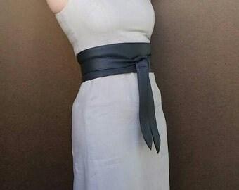 Dark Gray Leather Obi Belt - Fashion Wide Wrap Belts - Women Tie Belts - Wraparounds - Original Belts