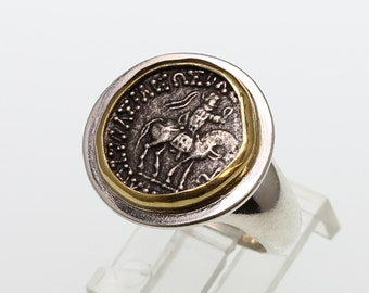 sterling silver and gold ancient coin ring, silver and gold women's ring with authentic silver ancient greek coin
