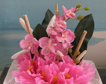 Tropical Pink Hibiscus Orchid Bamboo Starfish Seashell Beach Wedding Cake Topper