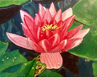 Pink Lily and Frog; Oil