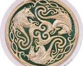 Three Celtic Horses - Cast Paper - triskelion- Irish art - Scottish art - Celtic Knot - Celtic Wheel - Epona - Equestrian