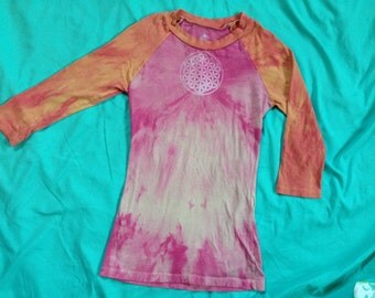 ON SALE // Abundant Spirit Peaceful Warrior 3/4 sleeve SMALL Baseball Shirt // Tie Dye // Ooak / Om / Flower of Life / Thunderbird