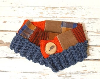 Scarf neckwarmer Woman neckwarmer Cowl scarf woman Button scarf Short scarf Cowl neck scarf Woman gift Knit neckwarmer Eco accessories