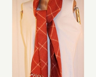 """SALE 50% OFF Vintage Russet Fringed and Cream Wool Scarf 72"""" Long"""