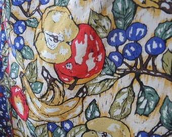 Vintage 1980s Perry Ellis all silk scarf fruit  31 x 31 inches