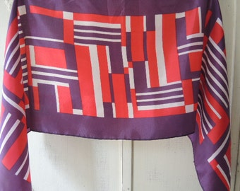 vintage 1970s acetate twill scarf made in Japan  11 x 41 inches