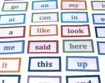 Kindergarten Sight Words Flash Cards - Teaching Aid, Homeschool Educational Supplies, Montessori Materials, Speech Therapy Literacy Activity