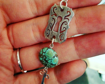 Key and Keyhole Talisman Sterling silver and assembled turquoise pendant