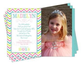 "PreK Preschool or Kindergarten Graduation Announcement | Printable 5"" x 7"" | Invitation | Customized"