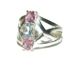 Pink Tourmaline Ring, Aquamarine Ring, Sterling Silver, Rings On Sale