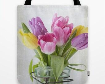 Tulips in a Jar Photo Tote Bag, Photo Tote, Tote Bag, Flower Tote, Photography, Flower Photography
