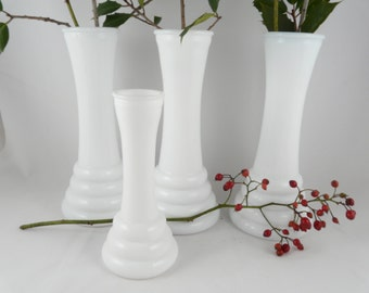 TALL Milk glass vases, classic white, large size, set of three