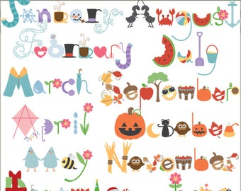 Seasonal Clipart and Scrapbook Titles -Personal and Limited Commercial Use- Month Names Clip art