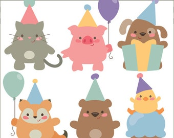 Birthday Animals Clipart -Personal and Limited Commercial Use- Animal Party, Birthday Clip art