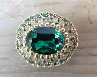 Beautiful Oval Green and Rhinestone Brooch/Fashion Green Emerald Style Stone Brooch/Christmas Green Ladies Fashion Pin