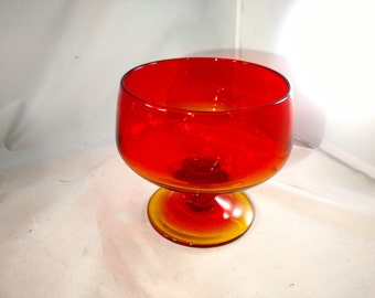 Blenko Glass Compote in Tangerine, Mint Condition