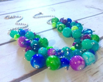 Jewel Cluster Necklace - Bright Blue Purple Green Beaded Jewelry - Statement Chunky Bub Summer Silver