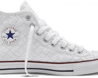 White Custom Converse High Top Wedding Woven Weave Bling Mens Lady w/ Swarovski Crystal Chuck Taylor Rhinestone Bling All Star Sneaker Shoe