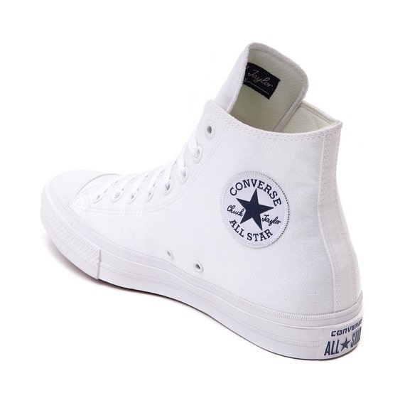 Converse White High Top Chuck Taylor II Monochromatic Canvas Custom Kicks w/ Swarovski Crystal Rhinestone Bling All Star Sneakers Shoes