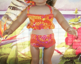 """American Girl, 18"""" Doll Orange Print Swimsuit  and Skirt with Accessories"""