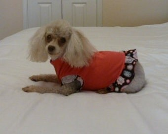 Puppy Dress, Dog Clothes, Furry Friend Dress in Hot Pink with a Floral Motif on a Black Background and a cute Black Bow