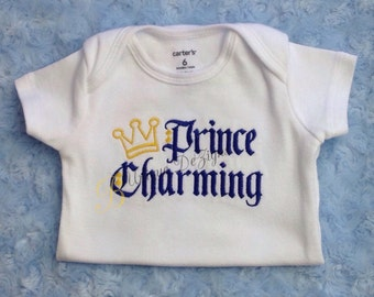 Prince Charming Embroidered Saying Bodysuit