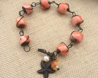 Peach coral and pearl copper wire wrapped bracelet, one of a kind