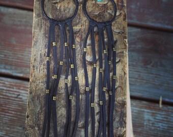 Dreamcatcher Earrings Bohemian Jewelry Leather Jewelry Dangle Earrings