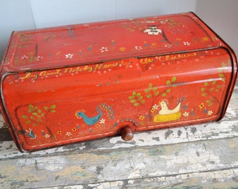 Vintage Chicken Breadbox ~ Hen Breadbox ~ Vintage Red Kitchen ~ Metal Breadbox ~ Folk Art ~ Epsteam