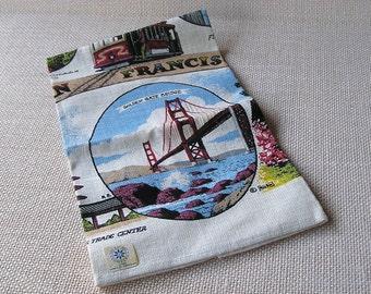 Vintage San Francisco California Souvenir, KayDee Hand Prints Linen Towel, R. Batchelder, unused with sticker