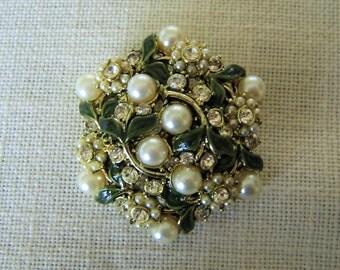HOLLYCRAFT ENAMEL BROOCH Green w Rhinestones & Pearls Gold Tone Vintage Collectible Designer Costume Jewelry Pin Wedding Gift