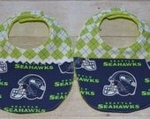 Seattle Seahawks Your Choice With or Without Ric Rac Argyle Topped Baby Bib 7.00 Each
