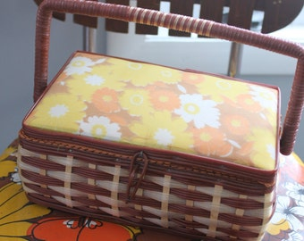 Flower POWER Vintage Wicker and Wood Sewing Basket Sewing Crafts Box, vintage sewing box, vintage sewing basket, orange and yellow flowers