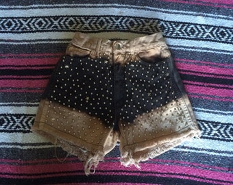Vintage Studded Bleached Black Denim Shorts