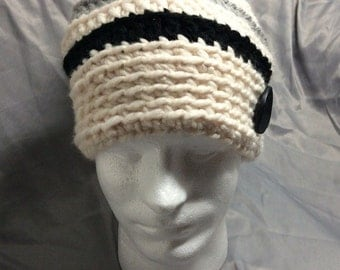 Crochet Stripe Soulchy Hat With Button Accent